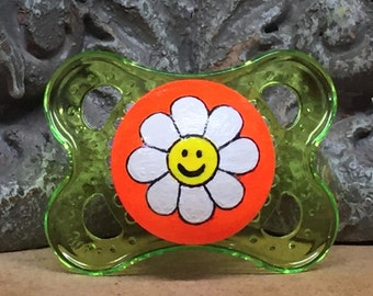 Neon Daisy Custom Hand Painted Pacifier by PiquantDesigns