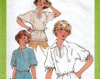 Simplicity 8340 Misses 70s Pullover Blouse Sewing Pattern Bust 32 to 34