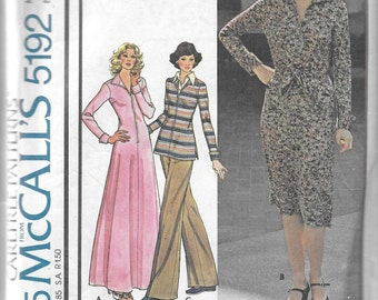 McCall's 5192 Misses 70s Stretch Knit Dress or Top & Pants Sewing Pattern Bust 36