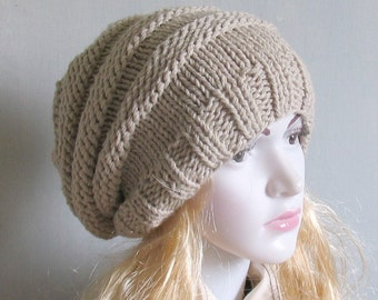 Hand Knit Hat  Slouchy Hat  Slouchy Women Hat  Slouchy Beanie  Oversized Hat  Chunky Knit  Winter Hat Women Knit Hat