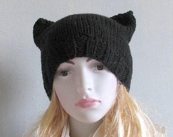 SALE - Black Cat Hat, Knit Cat Ear Hat or Cat Beanie, Womens Cat Hat womens march hat, pink hat,nasty women, Black pussyhat cat, knit
