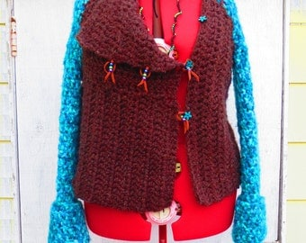Boho Clothing, Women's Sweater, Boho Chic, Sweater Jacket, Chunky Warm Sweater, Boho Sweater,  Funky Sweater, Womens Top, Crocheted Sweater