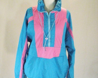 Pink & Blue Pullover Windbreaker Jacket Top