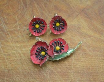1960s Poppy Brooch and Clip Earrings Set