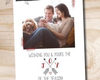 Joy of the Season Arrow Christmas Card - Printable Holiday Card