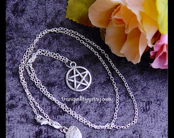Pentacle Necklace Supernatural Charm Necklace , Hipster, Gothic, Emo , Sterling Sliver 925 or Sliver Plated ,By: Tranquilityy