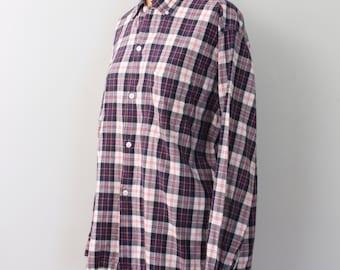 SPRING SALE 1950s soft English cotton men's plaid shirt - button down shirt / Nelson Paige - 1950s preppy shirt / preppy plaid shirt
