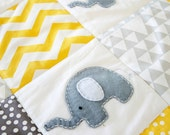 Baby Blanket - Elephant XL Baby Crib Quilt in yellow ; unisex baby blanket, patchwork quilt, elephant blanket ,