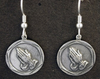 Sterling Silver Praying Hands Earrings on Heavy Sterling Silver French Wires
