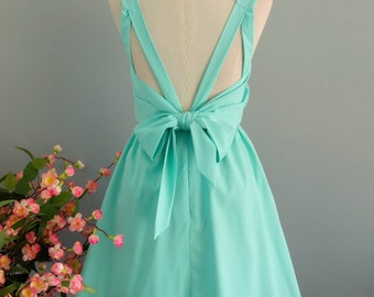 A Party V Backless Dress Backless Mint Blue Prom Party Dresses Wedding Bridesmaid Dresses Mint Blue Cocktail Backless Dress XS-XL Custom