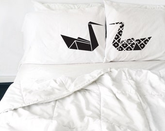 couples pillow cases Kissing Swans Pillows Cool Origami Swan Pillows Love Pillows His and Hers Pillow cases Couples pillow cases