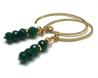 Gold Filled Emerald Earrings, Emerald Jewelry, May Birthstone, Mother's Day, Green Stone Earrings,