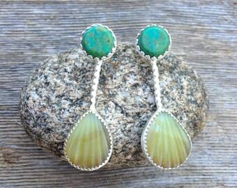 Royston turquoise  earrings in sterling silver with sea shell.  Ocean earrings, resort jewelry, sea shell earrings, turquoise post earrings
