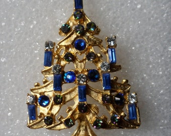 Sapphire Christmas Tree Pin! Nice AB Baguette Swarovski Crystals! Handmade In Oklahoma! Christmas Pin! Free Shipping! On Sale Now + 15% Off!