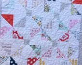 Pinwheel Baby Quilt Vintage Inspired Scrappy Patchwork Table Topper Ready to Ship 30X30