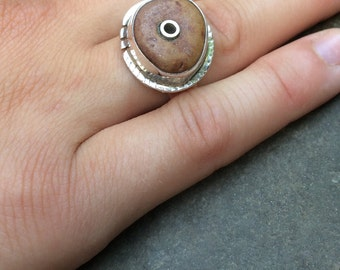 Sterling silver beach stone ring