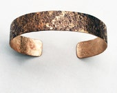 Stone Textured Hand Forged Bronze Bracelet Half Inch Wide with LOS Patina Medium Size