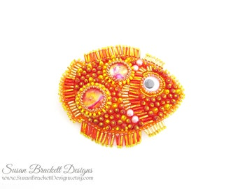 Fish Tales Beaded Brooch Ocean Jewelry Boho Chic Bead Embroidery Bohemian Embroidered Brooches Orange Dichroic Cabochon Pin - CLEARANCE ITEM