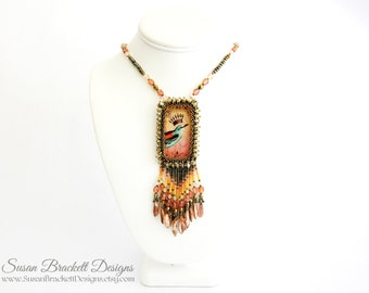 Pink Beaded Necklace Crowned Beauty Bohemian Statement Jewelry Boho Chic Necklaces Birds Crown Southwestern Necklaces Fashion Western