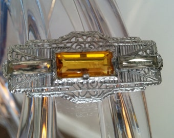 Antique J. H. P. & Sons Silver Brooch With Citrine - Beautiful Piece