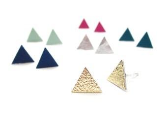 Leather Stud Earrings   Triangle Studs   Minimalist Geometric Studs   Nickel Free Jewelry   Minimalist Stud   Simple Studs   Bridesmaid Gift