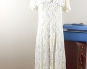 Reserved///  90s Sheer Cream Lace Dress, Romance Vintage 1980's 1990s midi  dress, Size Large L