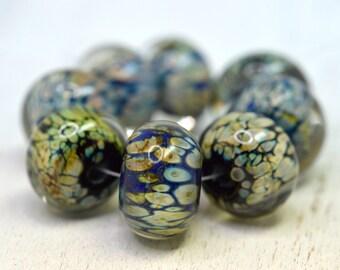 raku, cobalt, and black glass set of lampwork beads, SRA handmade in earthy colors 122815-8
