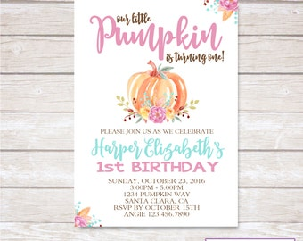 LITTLE PUMPKIN Girl Birthday Party Invitation - Printable