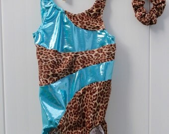 Girls Gymnastics Leotard in leopard and ligth blue 2t, 3t, 4t, 5t, 6,7, 8, 9, 10, 11, 12, 13, 14
