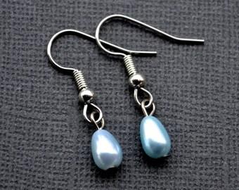 Tiny Light Blue Teardrop Pearls . Earrings