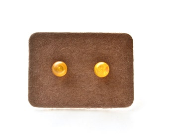Tiny Honey Yellow Studs . Earrings