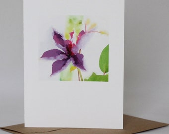 WATERCOLOR IMAGE FLOWER card with blank inside; printed notecard; greeting card for all occasion
