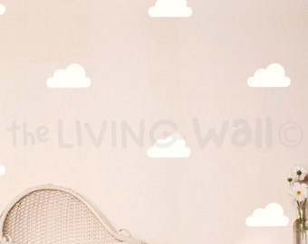 Happy Clouds Wall Decals, Clouds Decal, White Cloud Wall Stickers, Clouds Nursery Decor
