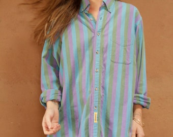 women's OXFORD striped pocket BUTTON up classic shirt
