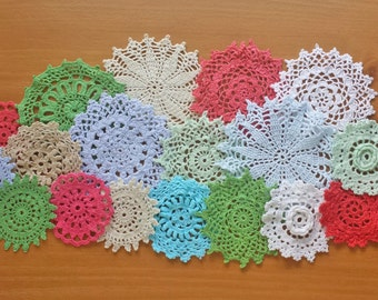 18 Hand Dyed Crochet Doilies, Red, Green, Blues, White, and Beige, Holiday Colors Craft Doilies