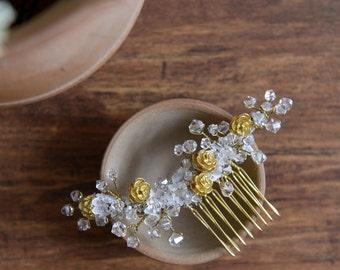 MISS Kate - crystal bridal headpiece, golden wedding hair comb