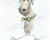 Terrier Illustration print, dog portrait illustrated with watercolors, can be customized with pet name, personalized, black dog