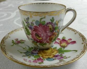 Dresden (Germany) Tea Cup and Saucer; Demi; Hand Painted By Franziska Hirsch circa 1901-1930-    #DSC