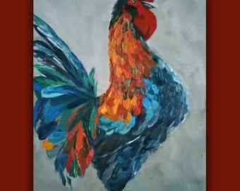 "Oil Painting ""STRUTTING"" Rooster, farm, bird, Original Oil painting, signed by the artist"