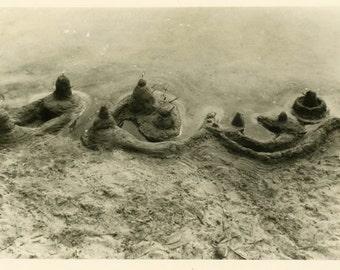 "Vintage Photo ""Sand Castle Forts"" Beach Snapshot Photo Old Antique Photo Black & White Photograph Found Photo Paper Ephemera Vernacular - 31"
