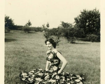 "Vintage Photo ""Meadow Model"" Woman Dress Pattern Snapshot Old Antique Photo Black & White Photograph Found Paper Ephemera Vernacular - 165"