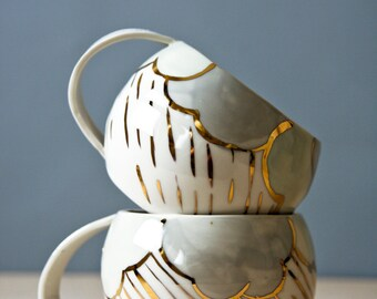 porcelain cups. white pastel and gold ceramic cups. large drinking cup, tea cup, unique coffee cup. rainy day cup,  karoArt ceramics