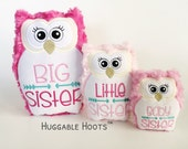 Stuffed Owl Sisters Set x3 - Plush Owl - Stuffed Animal - Personalized Stuffed Animal - Big Sister - Little Sister - Baby Sister - Sibling