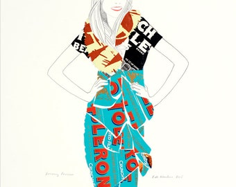 Burberry Prorsum Fine Art Print. Drawing. Fashion Collage. Modern Art. Fashion Illustration.