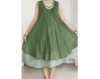 Cotton Sleeveless Two Layer Summer Dress, Maternity Dress in Dark Green