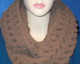 Brown Crochet Infinity Scarf, Infinity Scarf, Brown Crochet Scarf Plush Infinity Scarf, Handmade Crochet Infinity Scarf, Chunky Infinity