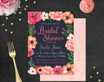 Bridal Shower Invitation WITH Envelope Liners // Watercolor Floral // DIGITAL