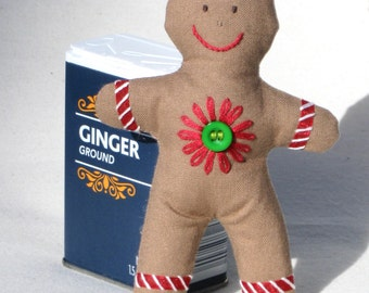 Embroidered gingerbread man Christmas ornament