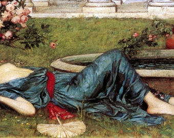 Sweet Summer Card | Woman Reclines By Fountain | Repro John William Waterhouse