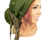 Olive forest green head scarf hippie boho chic artisan snood tichel pre tied bandana chemo hat cap ShariRose pashima soft gold 303 - 309